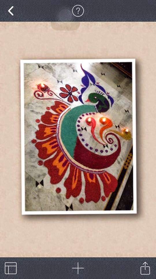 Peacock Rangoli designs are pretty common in Rangoli designs.