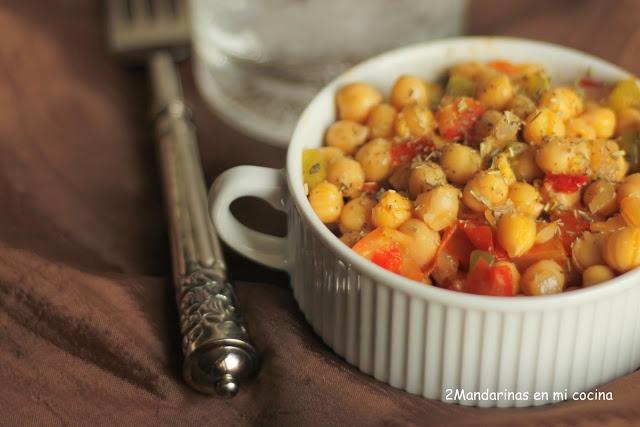 Garbanzos salteados con hortalizas del blog de Mandarina en mi cocina #nestlebloggers #recetas