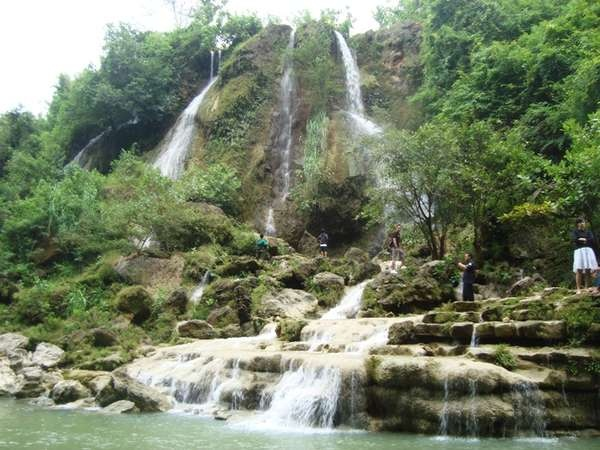 SRI GETHUK WATER FALL.  Located between Oya river surrounded by green rice field area, Sri Gethuk water fall flows without being influenced by the weather. It's thunderous sound seems breaking the silence in Gunungkidul that is well-known as a dry region.