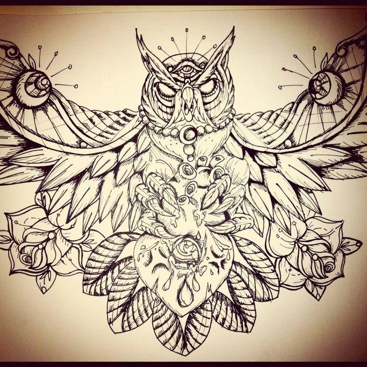 Owl Chest Piece by ~underlineage-designs on deviantART