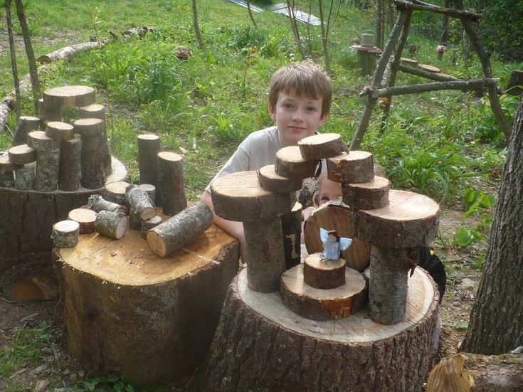 Natural Wood Blocks (Cut from downed branches/ trees): Kids have a great time building fairy houses, structures, kingdoms then knocking them down. These were roughly cut with a chain saw, were not sanded or sealed. Wonderful activity for imaginative play!