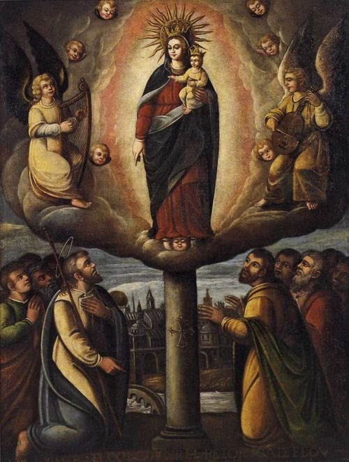 OUR LADY OF THE PILLAR (October 12) The first Marian apparition in history appeared to Saint James the Apostle, the brother of Saint John the Evangelist, on the bank of the river Ebro in Saragossa, Spain. Unlike every other recorded apparition, this one took place during the earthly life of the Mother of God. According to tradition, she had promised Saint James that when he needed it most in his difficult mission to the pagans in today's Spain, she would appear to him to encourage him.