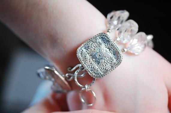 Crystal Quartz and pearl Bracelet PMC by NicoleThomasJewelry, $139.00
