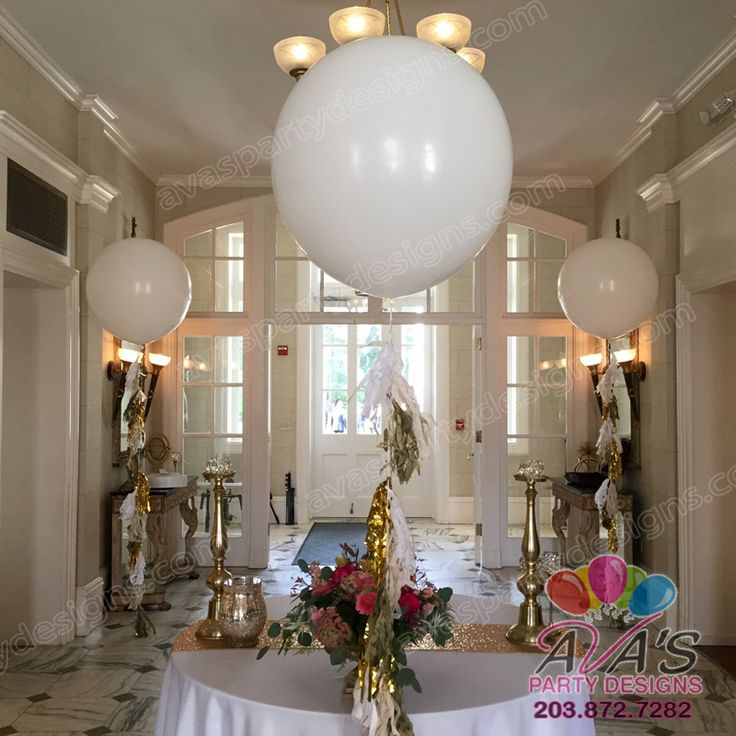 Giant quot or ft round white latex balloon with tassels