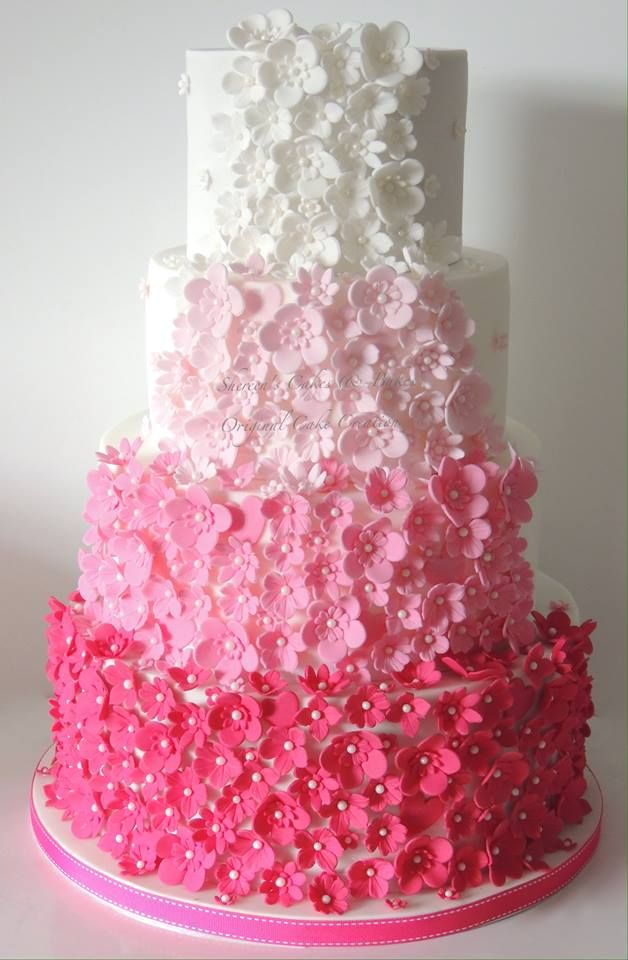 Pink and white ombre flowers wedding cake