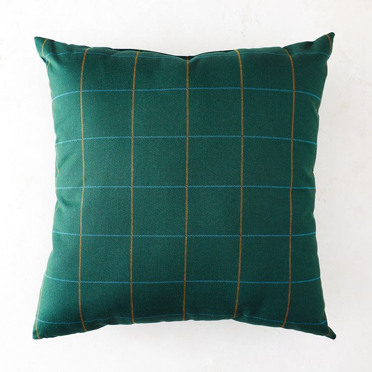 Green Windowpane Patio Pillow