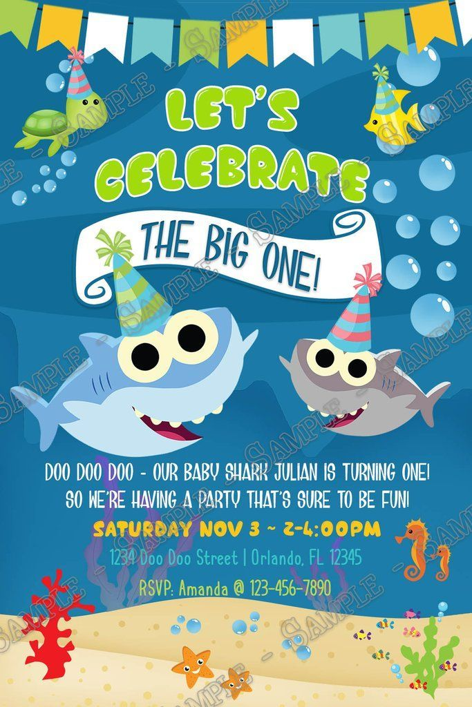 Baby Shark The Big One Birthday Party Invitation Shark Birthday Party Invitation Shark Theme Birthday Shark Birthday Invitations