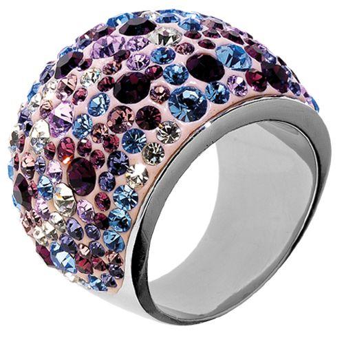 Anello in acciaio resina con strass viola, ametista, light ametista, bianchi e acquamarina - disponibile in vari colori