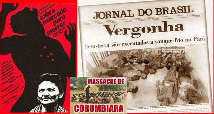 Imagens referentes: ao vídeo Cabra Marcado; jornal com a notícia sobre o Massacre  de Carajás; e Imagem Massacre de Corumbiara.