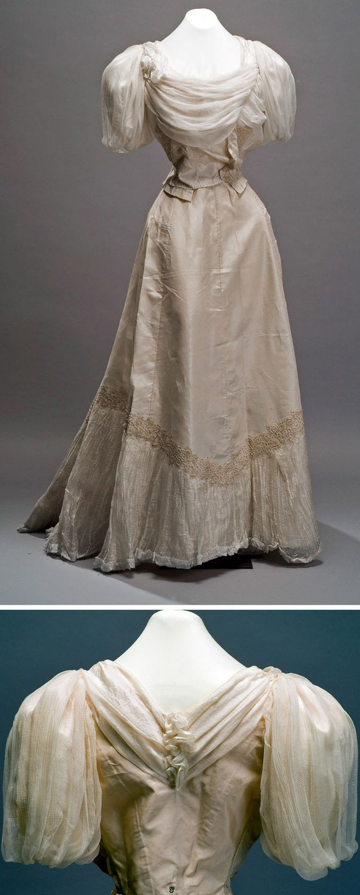 Silk satin dress, late 19th century, with applications of silk gauze and lace. Museum of Mexican History