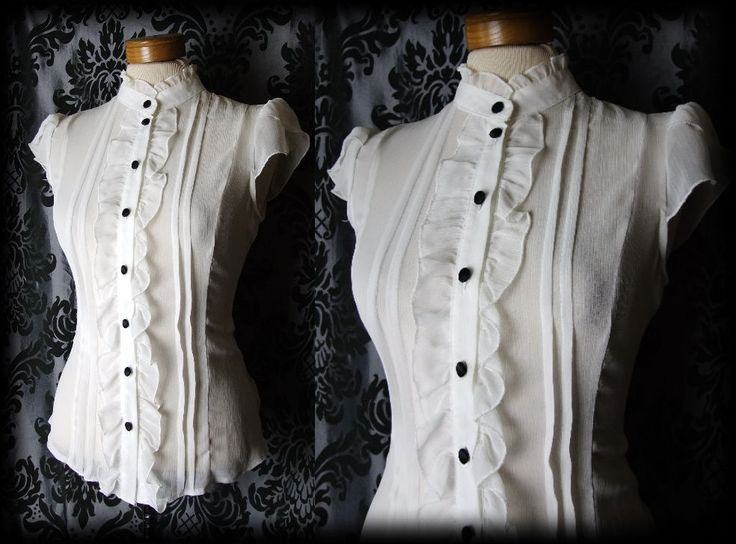 Gothic White Sheer Frilled VICTORIAN GOVERNESS High Neck Blouse 12 14 Steampunk - £24.00
