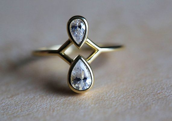 Amazing double pear diamond ring. If you want something special and different this ring will be the right selection. This ring can be made also with