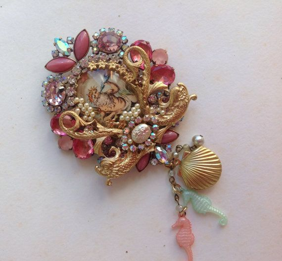 Statement brooch baroque style dolphinscameo by Lunabarocca, $200.00