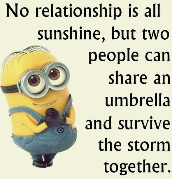 No relationship is all sunshine, but two 2 people can share an umbrella and survive the storm together.  Minions life's advice wisdom,