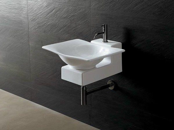 Lavabo design moderno da appoggio in ceramica Joker Alice Ceramica. [www.viadurini.it]