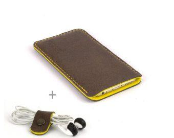 Leather Samsung Galaxy S8 case Black leather Black wool felt