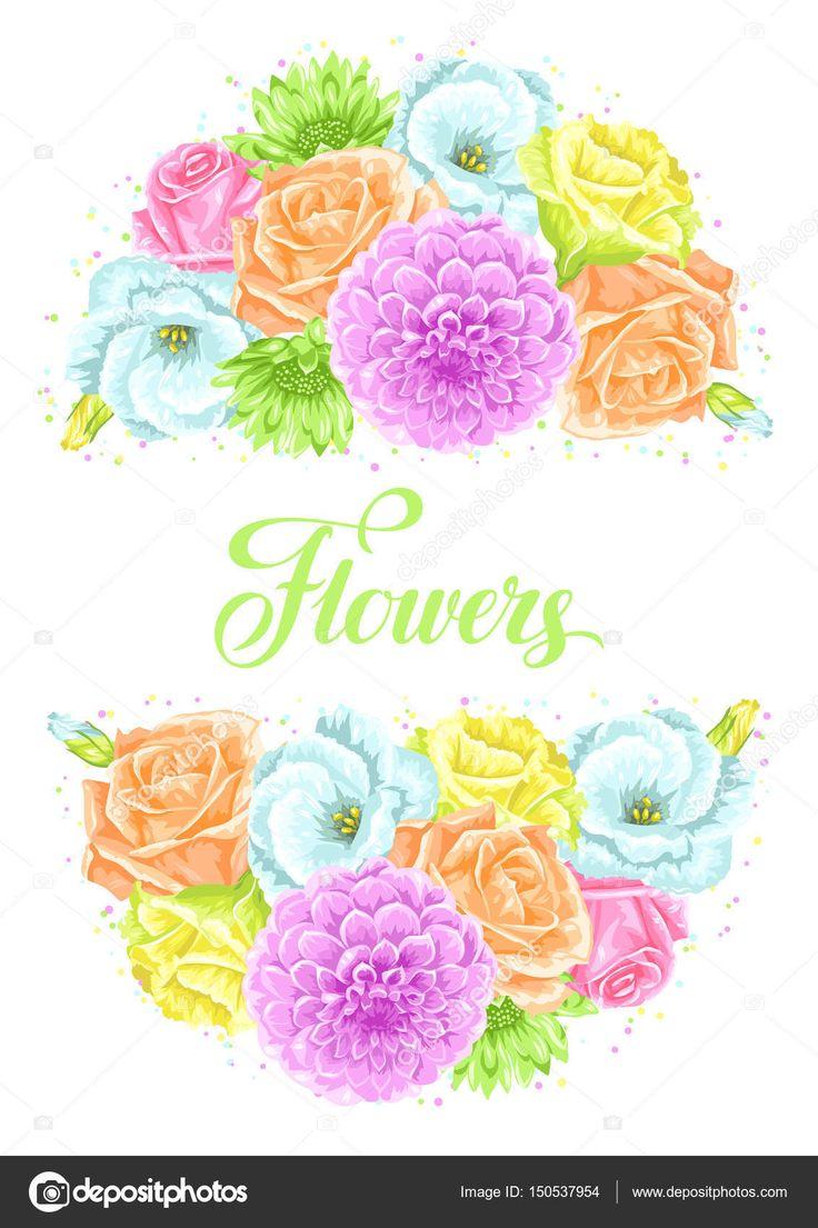 Пригласительная открытка с декоративными нежными цветами. Изображение для приглашения на свадьбу, романтические карты, плакаты