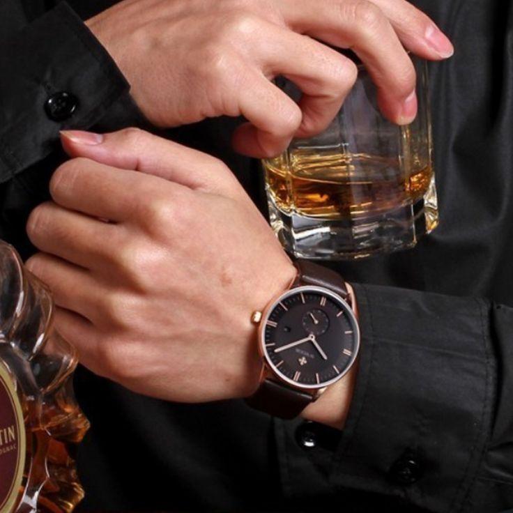 New Fashion Genuine Leather Men Quartz Watch Men Wrist Watch Luxury Brand Ultra thin Rose Gold Casual Sports Watches