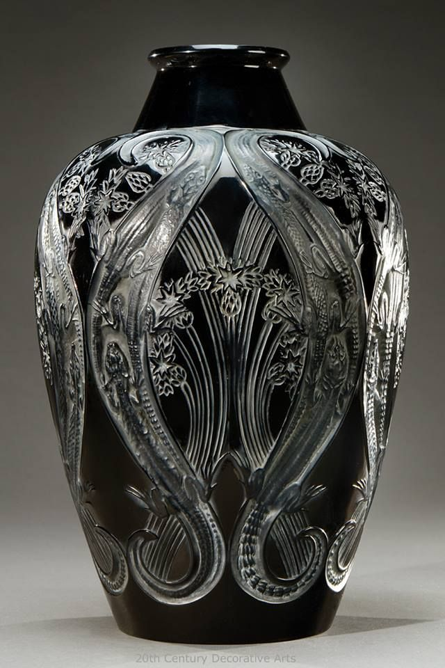 "A rare black glass vase ""Lézards et bleuets"" by René Lalique, this model created in 1913."