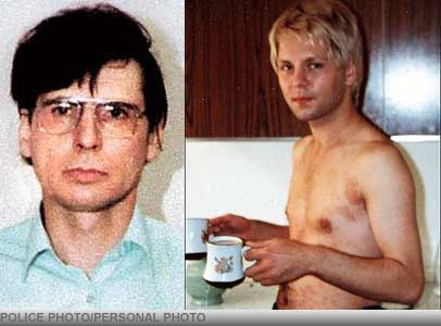 In 1981 drag queen Carl Stotter, 21, went home with serial killer Dennis Nilsen, got drunk, & slept with him. Stotter awoke to find Nilsen above him, throttling him. Nilsen then took Stotter to the bathroom where he held him beneath bathwater until Nilsen believed Stotter was dead. He kept him around the house (as he did with many victims) until Stotter awoke 3 days later. Nilsen revived him and let him go. Nilsen killed 14 gay men in London.
