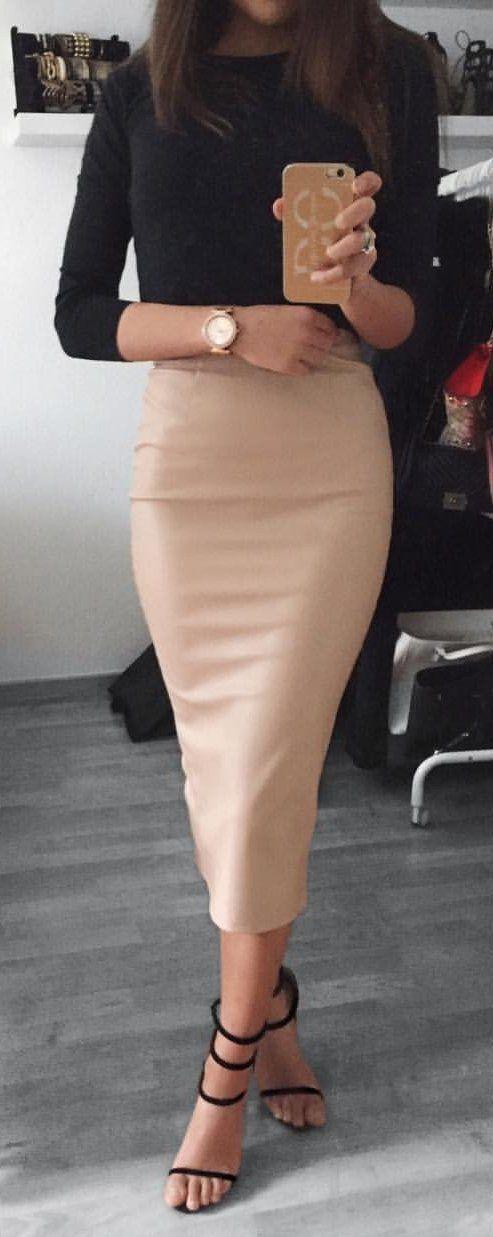 black and blush | basic top + pencil skirt + heels