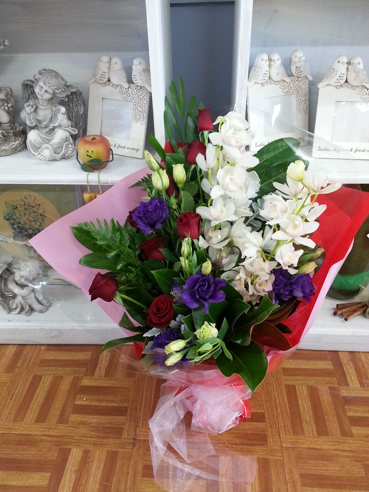 Gift sheaf of #Cymbidium orchids in #red and #purple
