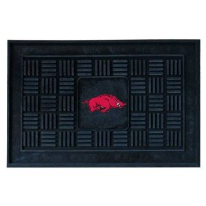 FANMATS 11349 University of Arkansas Razorbacks Medallion Door Mat by Fanmats. $16.08. Adorned with your favorite team's logo, these door mats make a statement while keeping dirt and mud from entering your home. Heavy duty vinyl construction ensures a durable mat. Deep reservoir contains water and debris. Rugged ribs scrape shoes clean. Your favorite team's logo is molded in 3D construction.. Save 54%!