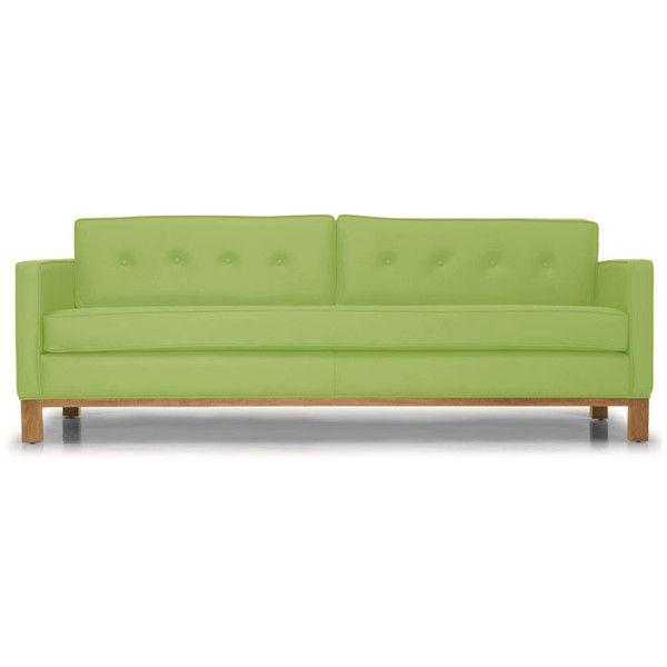 Raine Mid Century Modern Green Leather Sofa (6 610 AUD) ❤ Liked On Polyvore