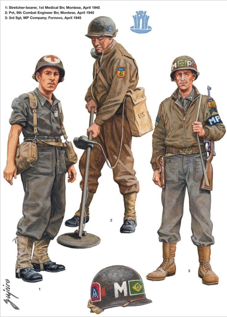 BEF (Brazilian Expeditionary Force) - 1 Barelliere, 1st Medical Bn, Montese, apr 1945 - 2 Soldato, 9th Combat Engineer Bn, Montese apr 1945 - 3 3rd Sergeant, MP Company, Fornovo, aprile 1945