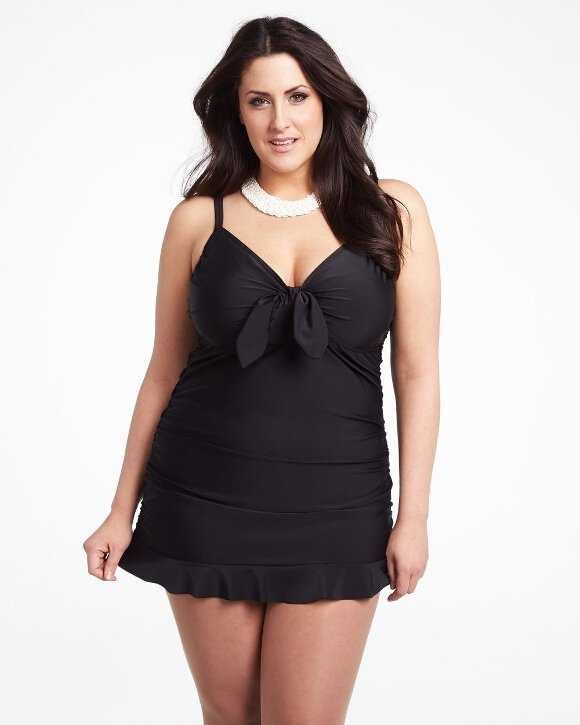 #AdditionElle #PlusSize #Swimwear 2013 ruched swimdress