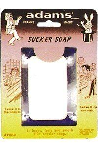 Suckers Soap Rack Pack by Morris Costumes. $1.90. Made of parrafin wax - won't lather. Looks, feels and smells like real soap, but made of plastic. Gardenia scented.