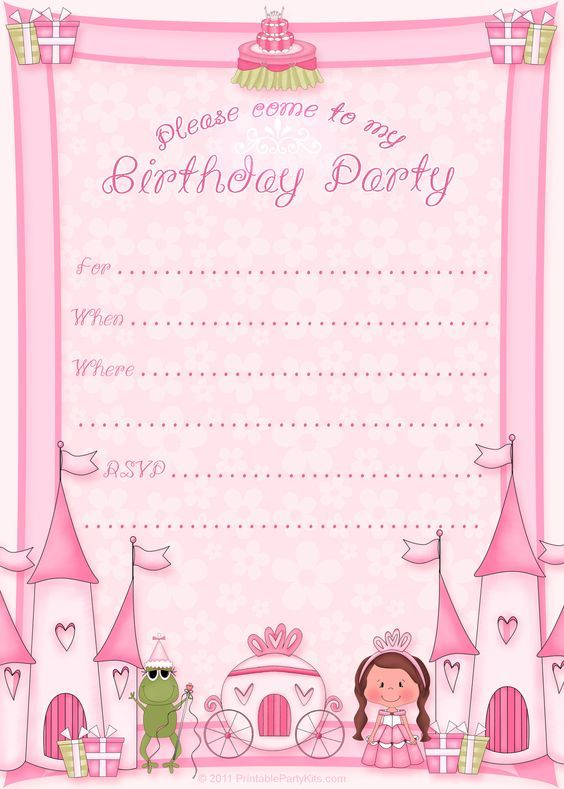 Best 25 Princess birthday invitations ideas – Free Printable Party Invitations for Kids Birthday Parties