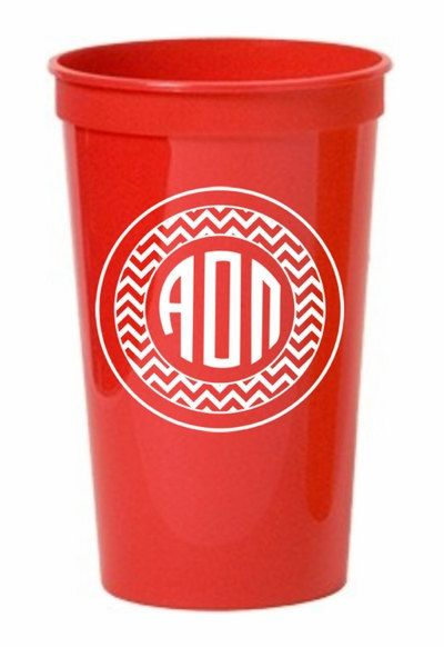 Alpha Omicron Pi sorority monogrammed giant plastic cup on sale for $2.95! You'll find the best selection & lowest prices on monogrammed plastic cups at Greek Gear.