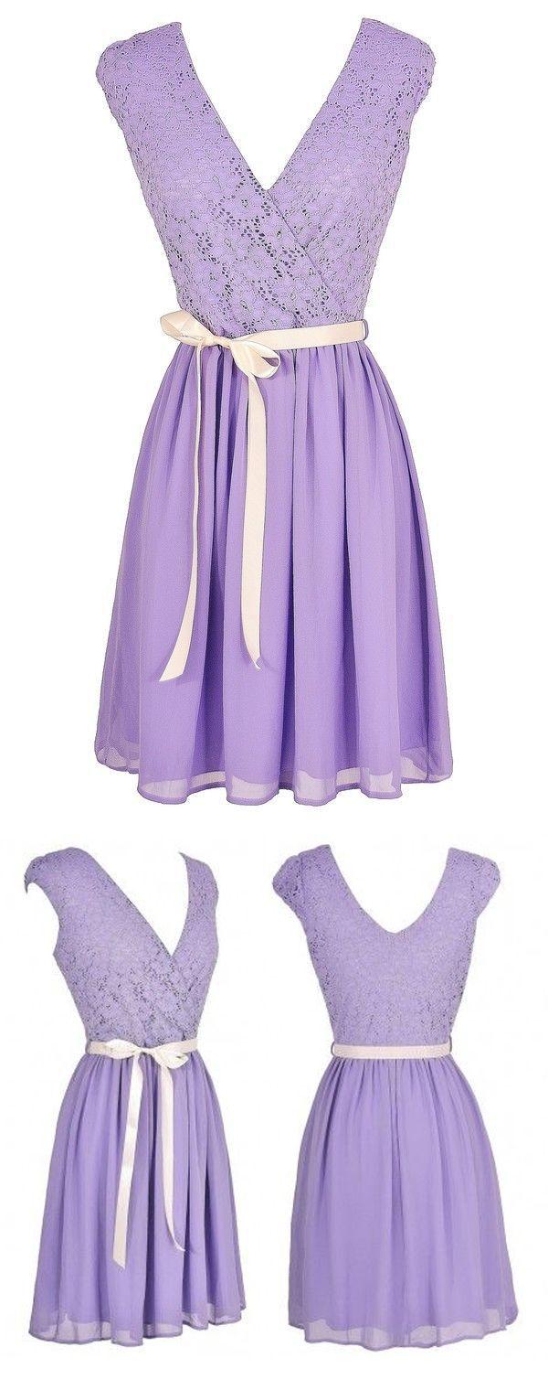 So cute! Cute Lavender Lace Dress, Purple Lace and Chiffon Dress, Cute Summer Dress, Faithfully Yours Lace and Chiffon Sash Dress #purple #lilac #lavender #bridesmaid #party #event #wedding