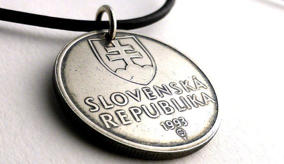 Slovakian Coin necklace Leather necklace Baltic by CoinStories