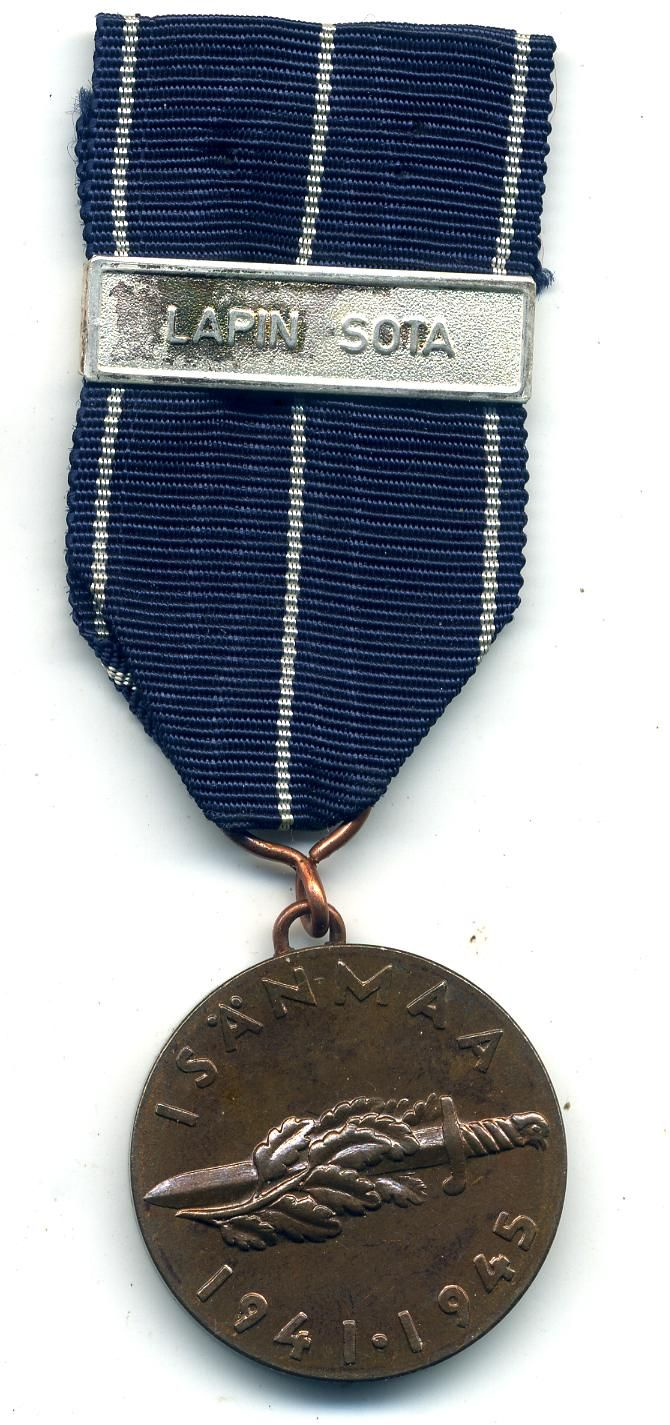 "A Finnish Continuation War Medal (1941-44) with bar ""Lapin Sota"" (Lappland War) The medal is in very nice condition and the bar is scarce to find GBP £ 30.00 (UK Pounds) http://www.war-medals.com/medal-pictures/cs763.html"