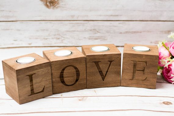 Valentines day Candle Holder Wood Love Sweet by HappyWeddingArt