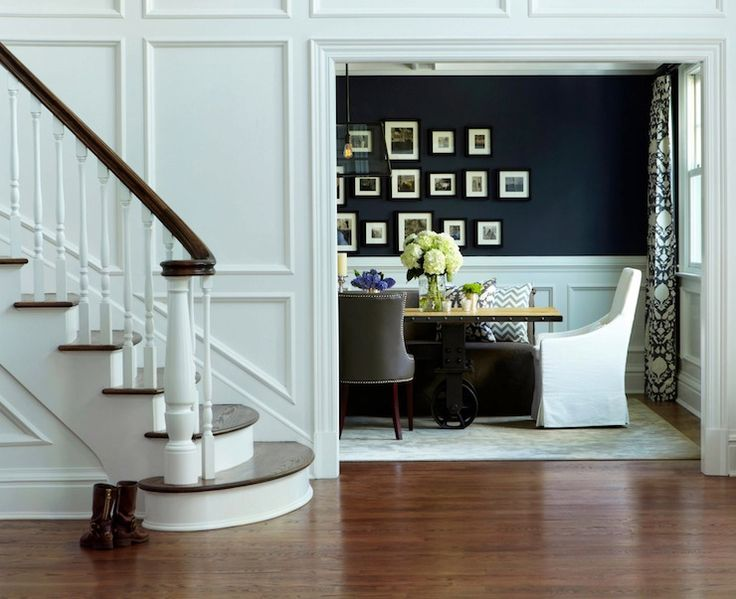 Dinning room color and picture frame wainscoting  Chango & Co. - dining rooms - Benjamin Moore - French Beret - Chenonceau Charcoal Fabric, Restoration Hardware Filament Chandelier, navy blu...