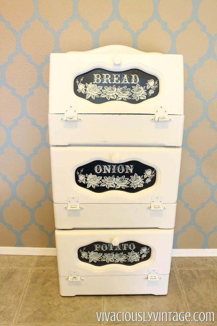 Tin bread box drawer insert - Giant Vintage Bread Box