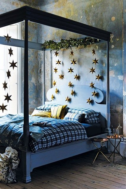 Our Reeded Four Poster bed was styled by House & Garden for their Christmas shoot, December 2015. Looking magical.. simonhorn.com
