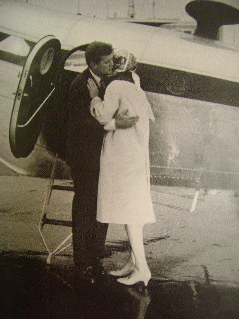 A rare photograph of JFK and Jackie embracing. Both hated pictures, and public affection. Beginning from JPK, JFK thought that showing public affection was a sign of the lower class and weakness, and he always avoided hand holding or other displays of affection in his early political career. In addition, he didn't receive much affection from his mother as a child, so he felt uncomfortable giving it. In his later years, it was obvious he was becoming more comfortable showing affection. - Y.