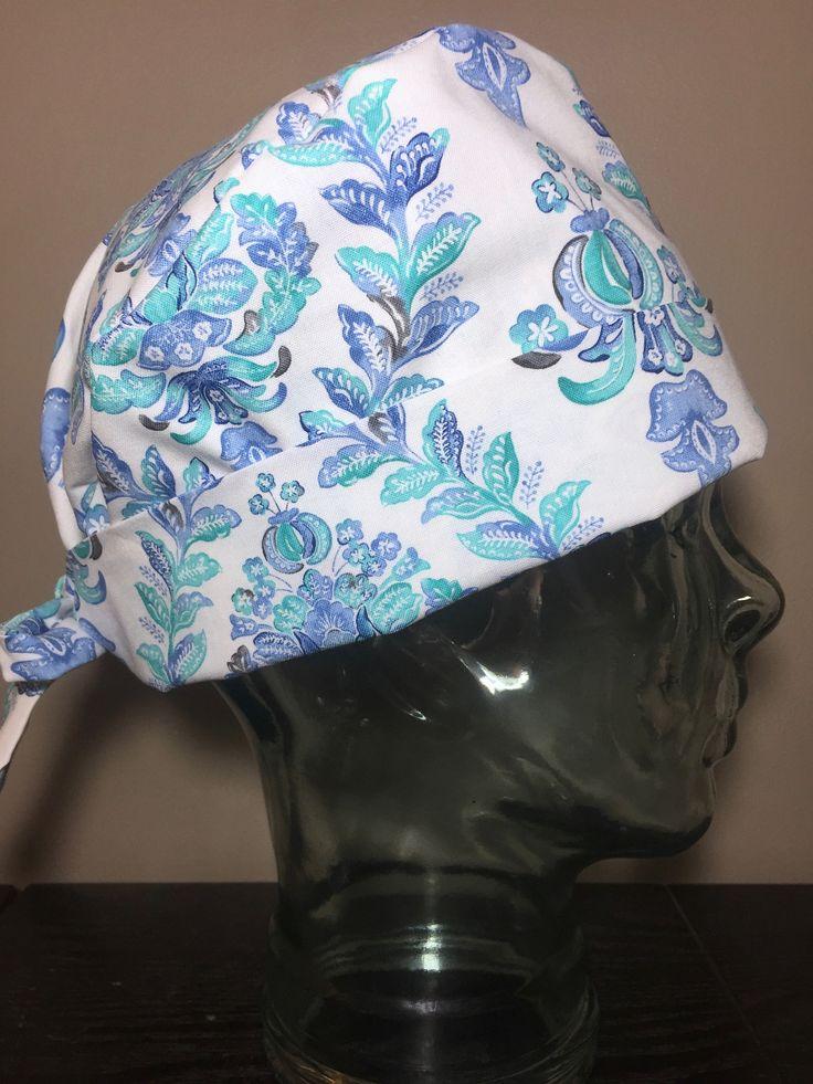 Mint & Purple Watercolour Florals Surgical Scrub Hats, Beautiful Women's Flower Blooms Pixie Scrub Hats, Custom Caps Company by CustomCapsCompany on Etsy