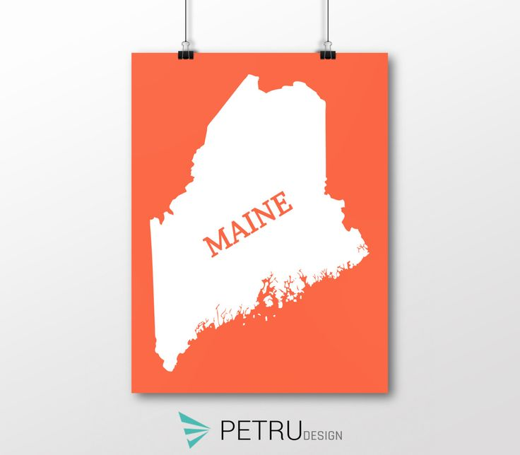 Maine print - Maine art - Maine poster - Maine wall art - Maine printable poster - Maine map - Maine Sunset art - Instant download by Exit8Creatives on Etsy