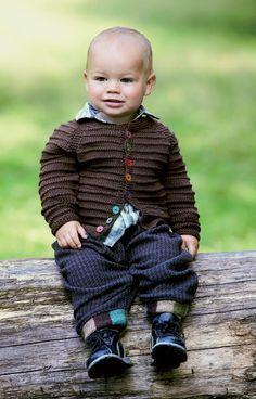 Brun babytrøje med retrillestriber - Hendes Verden
