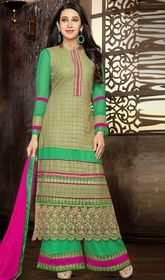 Karisma Kapoor Green Color Georgette Palazzo Suit #bollywoodfloorlengthanarkalionline #bollywoodblousesonline Win thousands of hearts by dressing up with this Karisma Kapoor green color georgette palazzo suit. The ethnic floral patch, lace and resham work with the attire adds a sign of splendor statement for the look.  USD $ 73 (Around £ 50 & Euro 55)