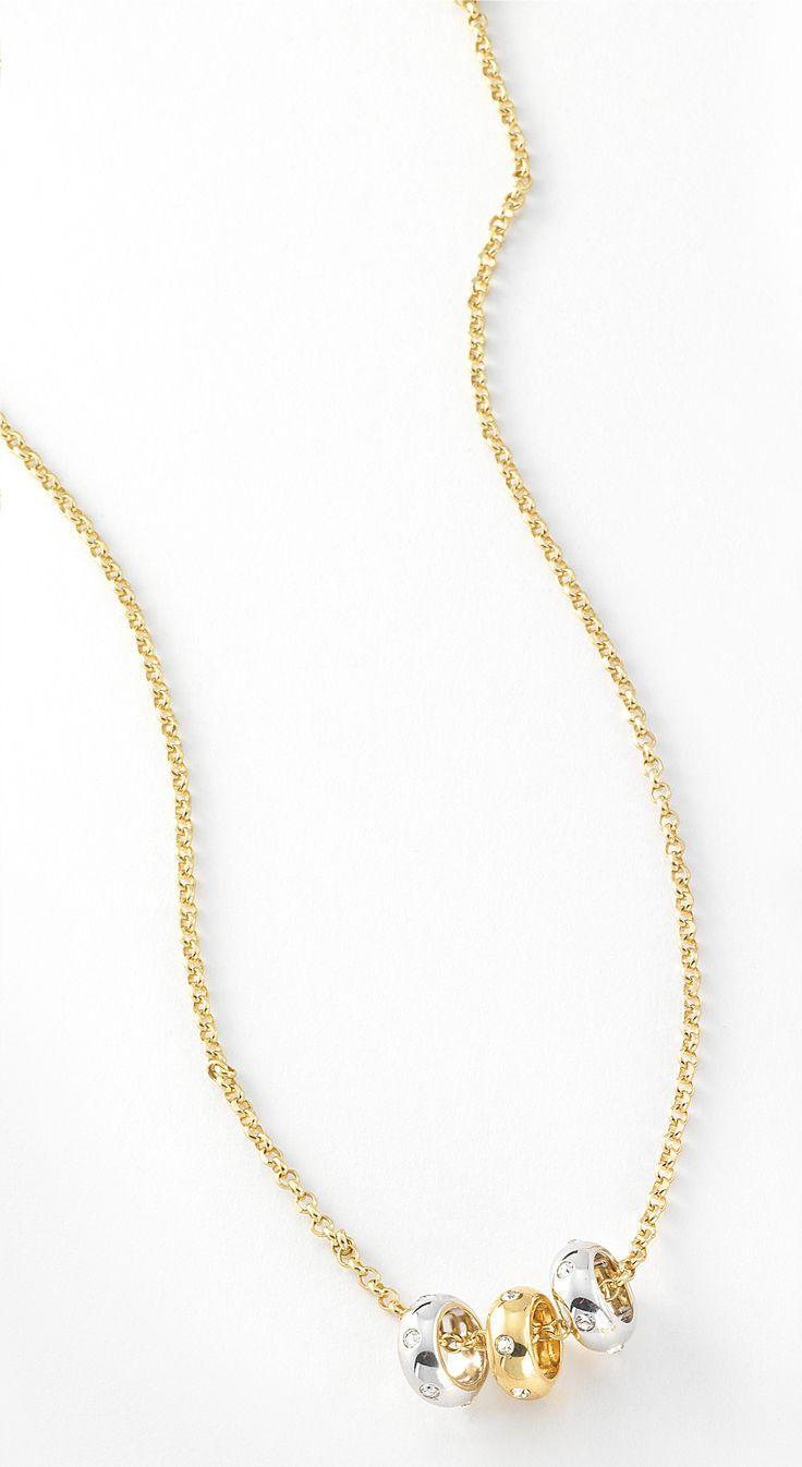 Collar en 4 ba os de oro de 18 kilates con perlas y dije for Bano de oro el yunque