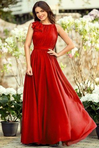Rochie eleganta lunga rosie din matase