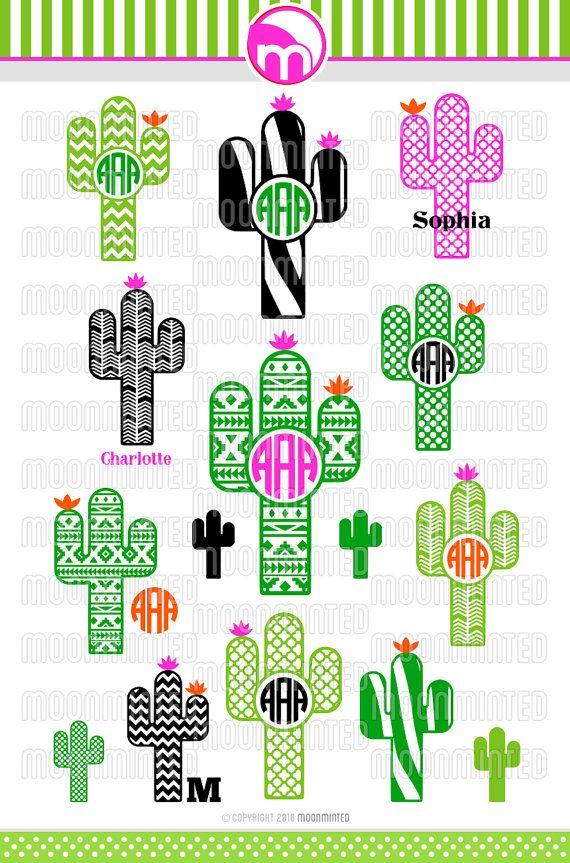Cactus SVG Cut Files Monogram Frames for Vinyl by MoonMinted