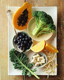 Foods rich in antioxidants - Vitamins A, C & E - may help prevent cardiovascular disesase and slow the aging process