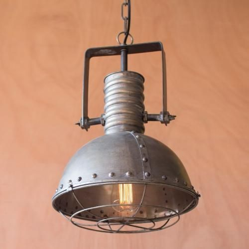 Large Metal Pendant Lamp With Cage Each Light Has UL Listed Parts Comes A Ceiling Cap And Six Foot Cord Plug That Can Be Removed